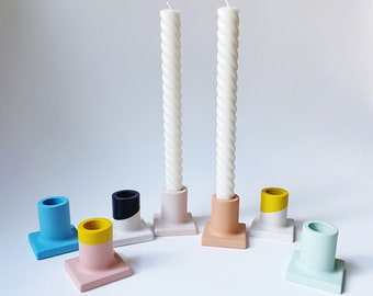 Colorful Candlestick Holder   Candle Holder   Concrete-Style Candle Holder