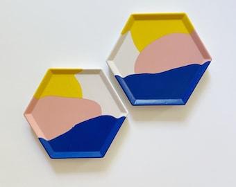 Hexagon Coaster   Colorful Coaster Set   Decorative Ring Trinket Dish   Flat Lay Photo Prop   Plant Tray   Ring Tray