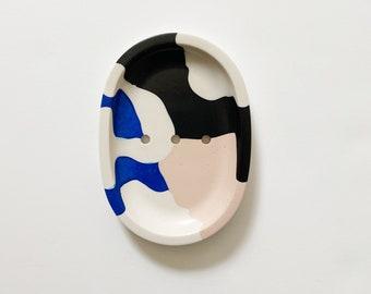 Abstract Soap Dish   Cobalt Blue + Blush   Draining Soap Dish   Shampoo Bar Holder   Soap Display   Bathroom Accessories