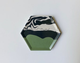 Evergreen Marbled Hexagon Coaster   Ring Tray   Candle Dish   Concrete Style Coaster   Plant Tray