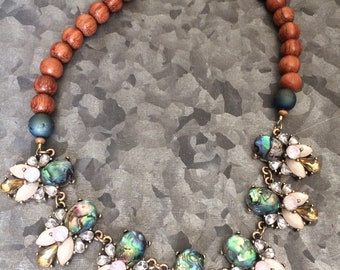 Abalone and wood statement necklace