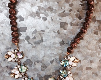 Mixed Media abalone and wood statement necklace