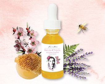 Manuka + Propolis Antioxidant Skin Superfood Organic Face Serum / Hydrates & Firms the Skin, Anti-aging, Reduces Fine Lines and Wrinkles