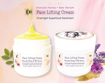 Organic Face Lifting Night Cream Raw Manuka Honey & Bee Venom | Anti-Aging, Overnight Facial Treatment, Pure Nourishing Skin Cell Superfood