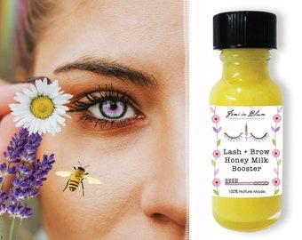 Organic Eye Lash & Brow Growth Booster Serum | Manuka Honey, Lavender | Lengthen, Strengthen, Fuller Lash Treatment | Zero Waste Option