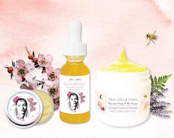 Natural Beauty Face to Lip Botanical Facial Kit | Manuka Honey, Bee Venom, Propolis | Pure Fresh Night Cream, Facial Serum, Lip Balm Butter