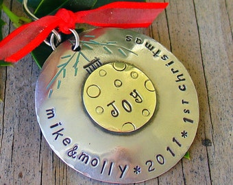First Christmas or Family Christmas tree ornament- personalized