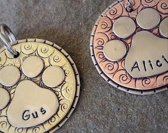 Pet ID TAG- dog tag- dog id tag- dog tag for dogs-dog tags-dog mom gift-pet tag-dog lover-handmade-paw print-paw tag-big dog-doggonetags-Gus