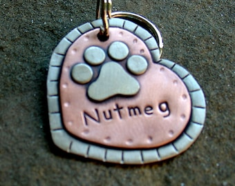 Large Dog ID tag- metal heart pet id tag- dog name tag with paw print- Nutmeg