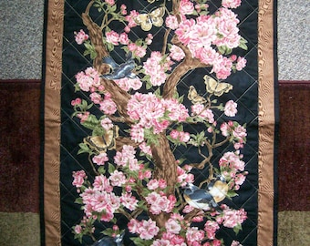 28x47 Asian cherry blossoms wall quilt