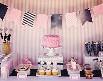 Preppy Nautical Collection: FULL Printable Party Package  (Navy, Pink, Anchor, Sailboat,  Nautical)
