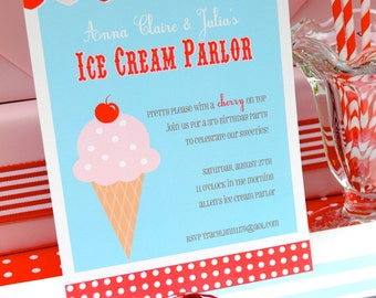 Ice Cream Parlor Party Collection: Printable Birthday Invitation for Girls or Boys