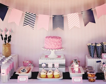 Preppy Nautical Collection: FULL Printable Party Package WITHOUT Invite  (Navy, Pink, Anchor, Sailboat,  Nautical)