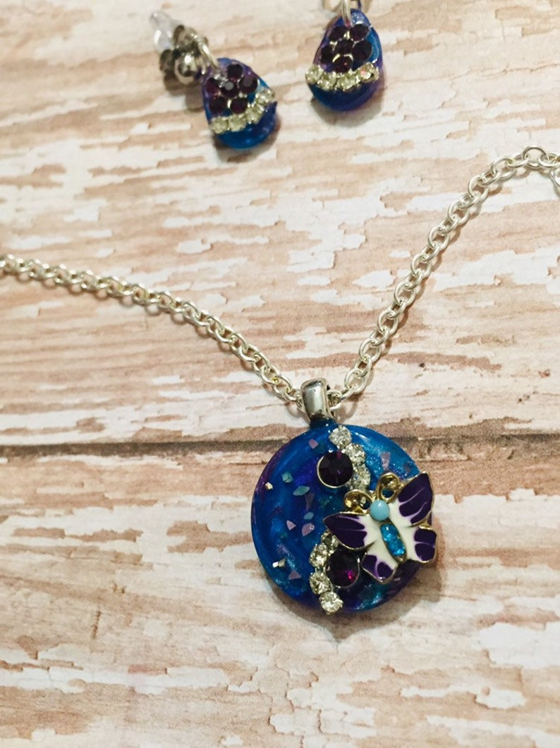 Blue /& Purple Butterfly Necklace and Earrings Set