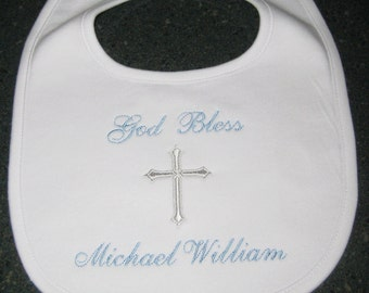 Baptism Gift Christening Gift Pima Cotton Personalized Bib Monogrammed Baby Boy Gift Baby Dedication Gift