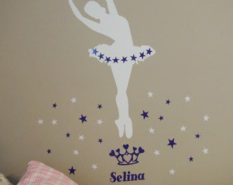 SUPERSIZED Glow in the dark ballerina wall decal with your name of choice