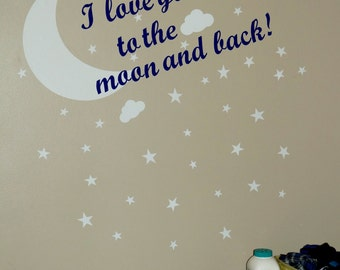 I love you to the moon and back!  moon and stars decor stickers Glow In The Dark nursery Wall Decal children's  room wall art