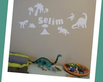 Personalized glow in the dark vinyl dinosaur wall decals boys room decor, christmas gift,  birthday gift, nursery decor, baby shower gift