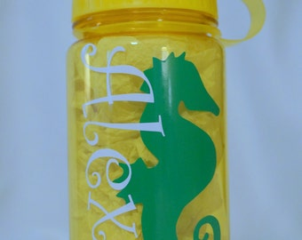 seahorse decal DIY personalized name vinyl sticker water bottle label beach themed party favor beach birthday party decor