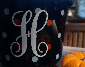 Custom Halloween bucket decal vinyl Sticker Personalized  Vine font monogram Fall Decor Name label