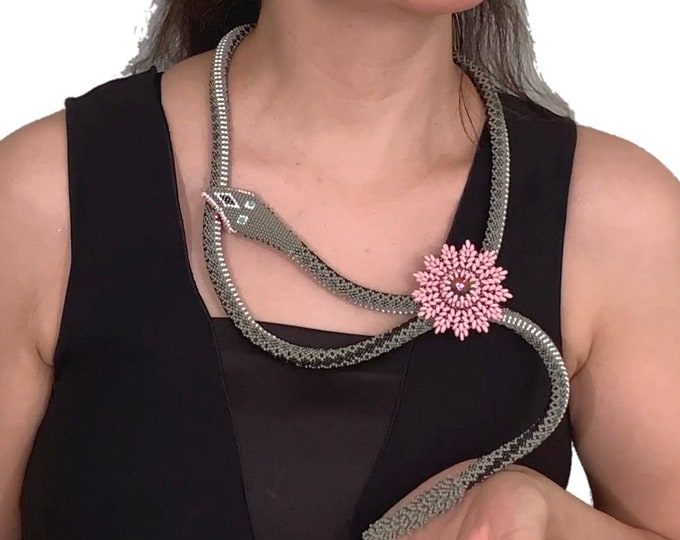 Featured listing image: Nazo bead crochet rattlesnake and flower necklace (FREE TUTORIAL)
