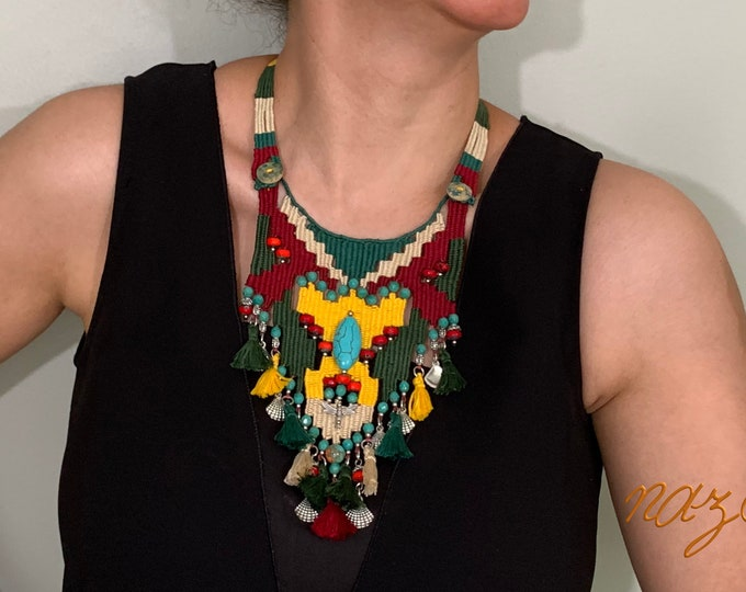 Featured listing image: Nazo needle weaving technique hand woven necklace