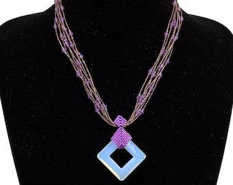 Nazo Fancy Squares Beaded Necklace with  miyuki delica beads and swarovski cristal