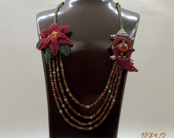 Macrame Necklace Stone-Macrame Jewelry-Agate Makrame Necklace-Makrame Rose Necklace-Gorgeous Necklace-Tassel Necklace