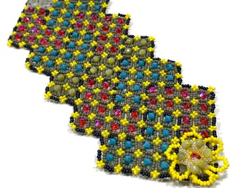 Nazo patchwork beaded bracelet patchwork beaded bracelet geometric patchwork bracelet lace bracelet spanish bracelet