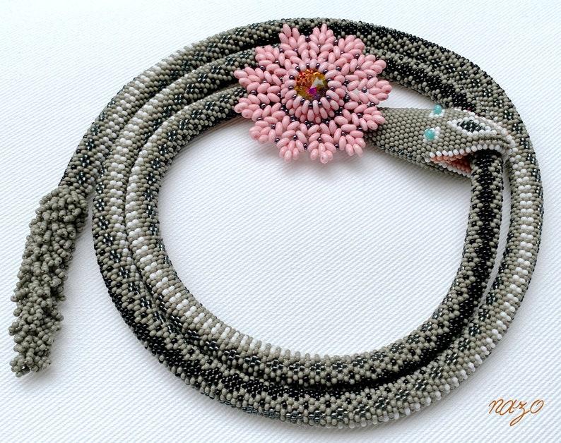 Bead crochet snakes necklace bead crochet rattle snake image 0