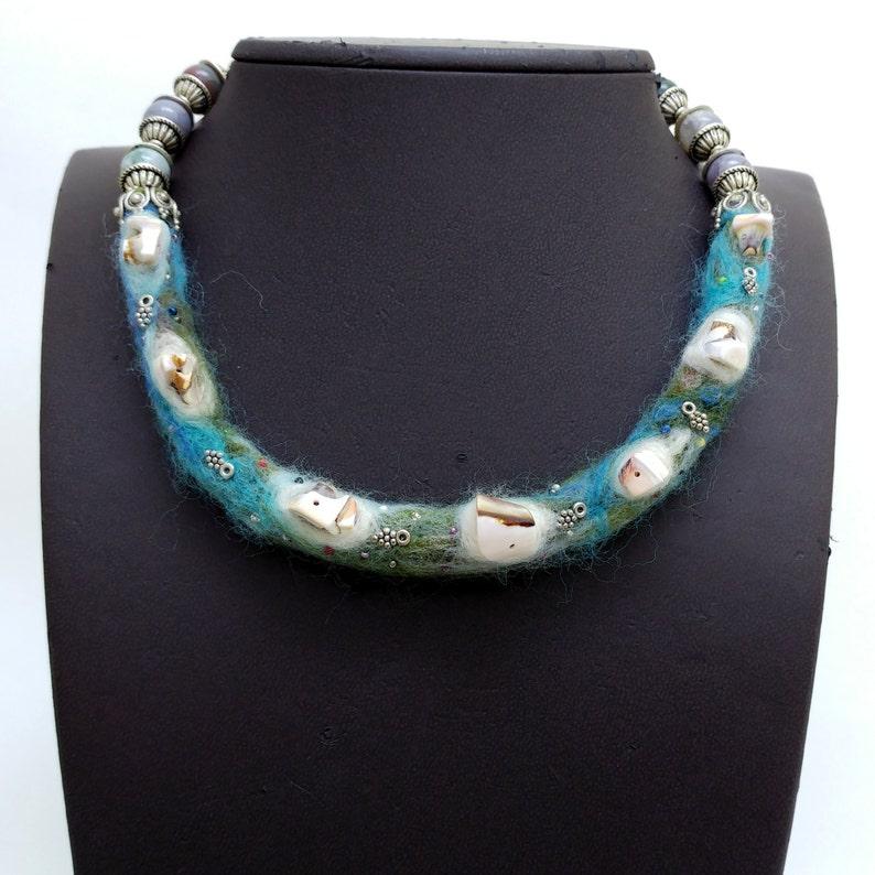 Felted necklace natural seashells  felt threads image 0