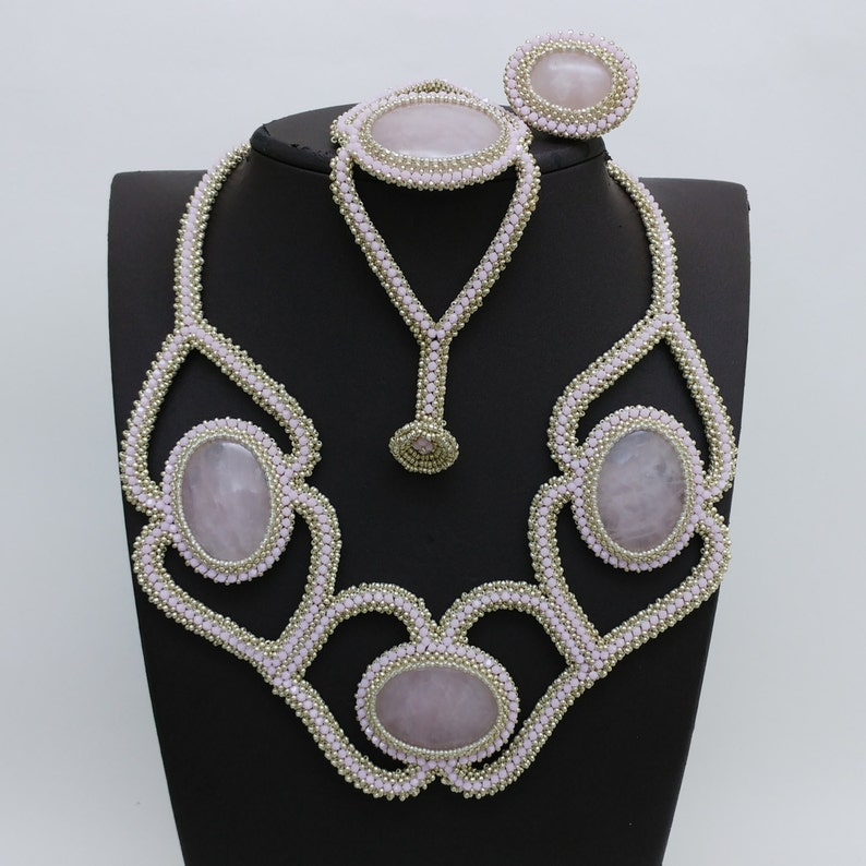 Natural quartz stone jewelry pink crystal necklace pink image 0