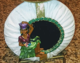 African American Black lady round candle holder