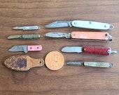 Lot of 7 Vintage Miniature Pocket Knife Pendants Novelties