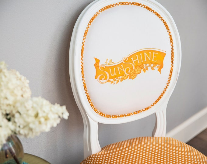 Featured listing image: Dining chair with handpainted fabric Hello Sunshine on organic cotton