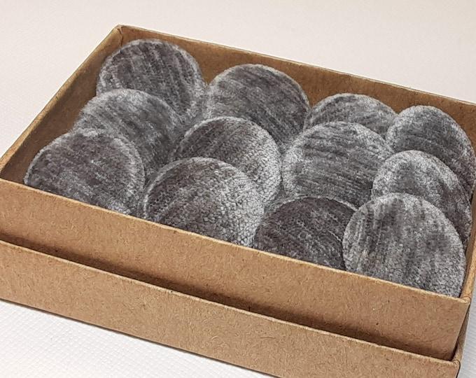 Featured listing image: gray velvet buttons, dark gray
