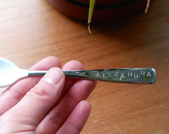 Hand Stamped Name Baby Spoon - Stainless Steel / Made in USA Steel Personalized Baby Shower Gift, Quality Toddler Feeding Spoon