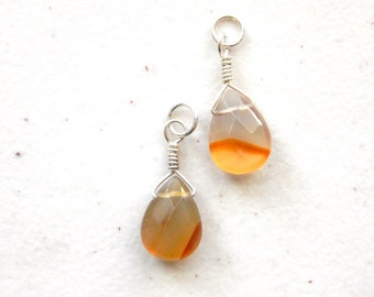 Fall Carnelian Drop Dangle Pendants Interchangeable for Ear Wires or Hoops / Earthy Orange Pendant Autumn Jewelry, Halloween Pendant Sunset