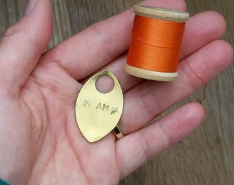 Rustic Hand Stamped Mama or Papa Pendant Talisman - Copper or Brass / Parent Gift, Motherhood New Mom Dad Child Initials Jewelry Mamahood