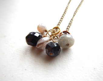 Moody Dark Skies Gem Cluster Necklace - Brass / Modern Weather Jewelry, Stormy Moody Agate Black Onyx Labradorite Necklace Neutral Colors