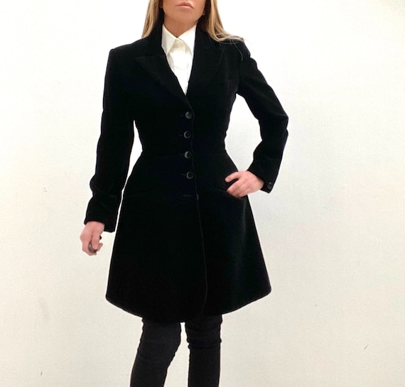 80's ALAIA Fit and Flare Velvet Princess Coat