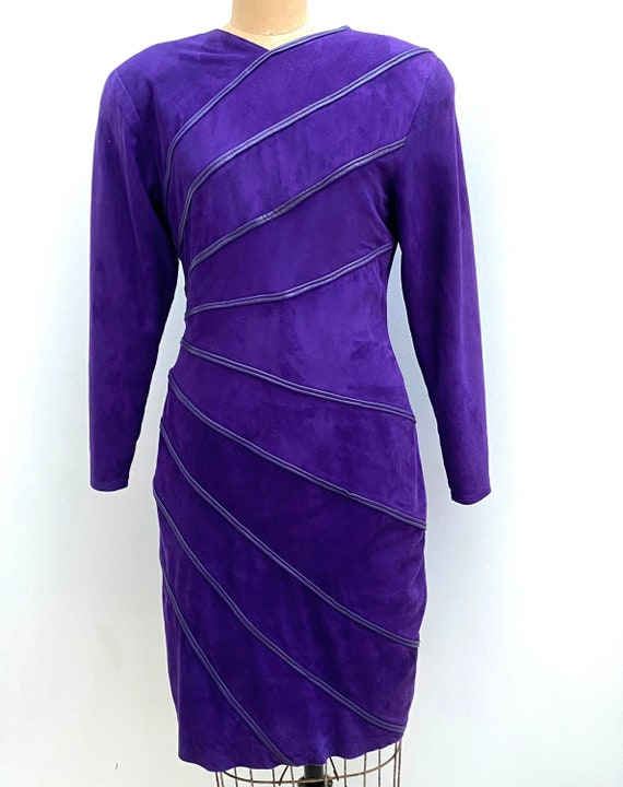 90'S Vakko Suede Dress Purple Suede Dress