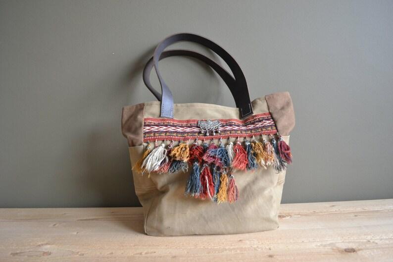 brown leather WWII tent canvas tote bag repurposed turkmen shoulder bag boho canvas tote bag ethnic tassels