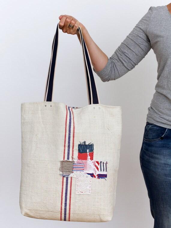 ff5f7b9d3ad French market tote large grain sack tote bag vintage grain | Etsy