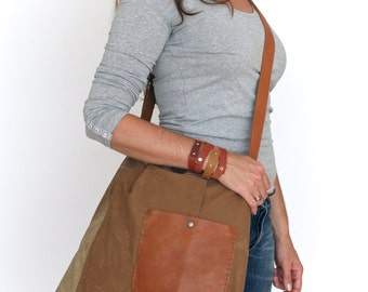 slouchy repurposed canvas tote bag - repurposed messenger bag - crossover cognac bag - tent canvas cotton shoulder bag - gift for him