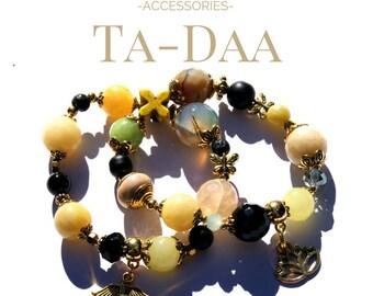 Stone beads bracelet set