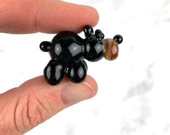 Glass Miniature Black Bear- Miniature Glass Animal- Free Gift Box