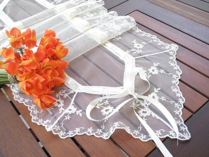 Lace table runner handmade wedding table topper romantic ivory image 0