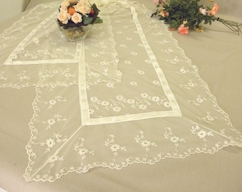 """Wedding Table Runner very long 110""""  table decor romantic off white french embroidered tulle French Lace shabby chic dinning table decor"""