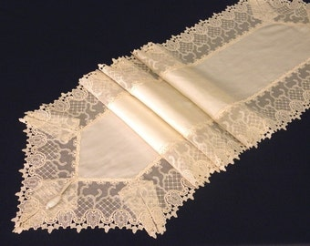 Lace table runner opulent off white silk with luxurious ecru lace shabby chic decor border victorian dinning table overlay home decoration